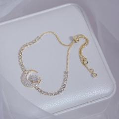 Gold Shinning Moon Brass Stone Adjustable Bracelet moon