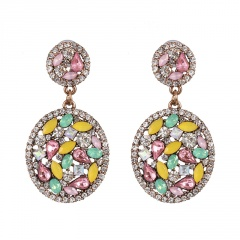 Fashion Full Diamond Round Dangle Earrings white