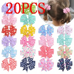 20 Pieces Flower Ribbed Hair Accessories Children's Bow Hair Tie 20 pcs