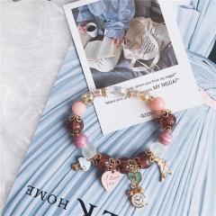 Natural Stone Crystal Clock Heart Pendant Beaded Bracelet Pink