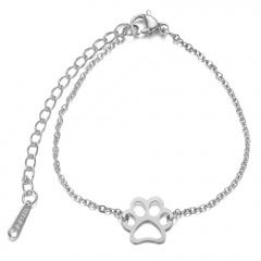 Simple Stainless Steel Dog Paw Chain Bracelet Wholesale silver