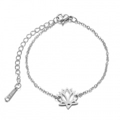 Flower Stainless Steel Chain Bracelets for Women silver