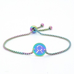 12 Constellation Symbol Stainless Steel Chain Bracelet Wholesale Taurus