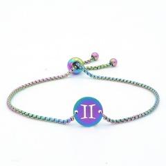 12 Constellation Symbol Stainless Steel Chain Bracelet Wholesale Gemini