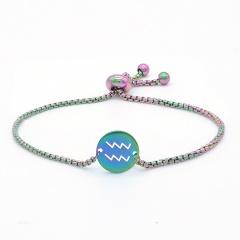 12 Constellation Symbol Stainless Steel Chain Bracelet Wholesale Capricorn