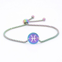 12 Constellation Symbol Stainless Steel Chain Bracelet Wholesale Pisces