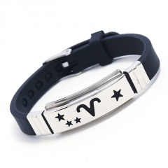 Stainless Steel 12 Constellation Silicone Bracelets Wholesale Aries