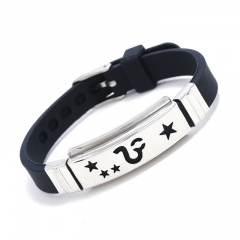 Stainless Steel 12 Constellation Silicone Bracelets Wholesale Leo