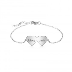 Customizable Silver Heart Stainless Steel Chain Bracelet double