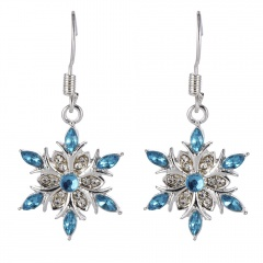 Blue Flower Crystal Drop Earrings Wholesale flower
