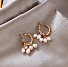 Fashion Gold Pearl Cricle Hook Earring Jewelry Wholesale 5 pieces pearl