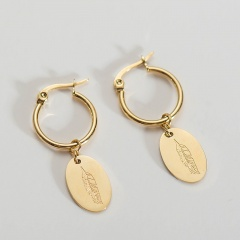 Gold Geometric Oval Feather Ear Hoop Earrings oval
