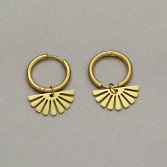 Gold Fashion Stainless Stell Fans Hoop Earring Jewelry Wholesale gold