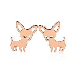 Fashion Simple Small Fox Stainless Stell Stud Earrings Wholesale rose gold
