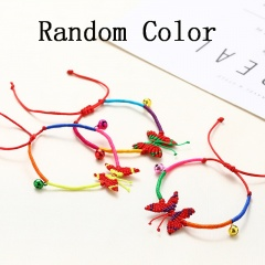 Butterfly Fish Hand Woven Colorful String Bell Pisces Bracelet Random Color Butterfly(Random)