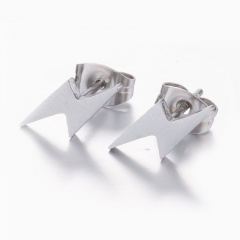 Simple Lightning Stud Earrings silver
