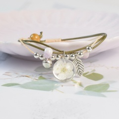 Fashion Glass Ball Bell Plant Specimen Handmade Bracelet white