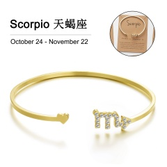 Gold 12 Constellation Diamond Open Bracelet Bangle with Card Scorpio