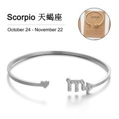 12 Constellation Silver Rhinestone Open Bracelet Bangle Wholesale Scorpio