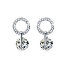 Silver Crystal Pearl Dangel Stud Earrings Wholesale circle