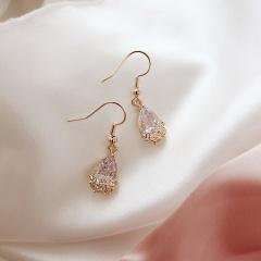 Fashion Gold Crystal Waterdrop Shape Dangle Earring Wholesale #1