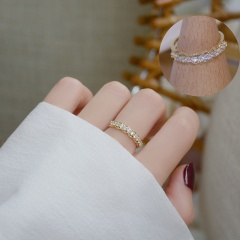 Fashion Gold White Stone Brass Open Rings for Women #1