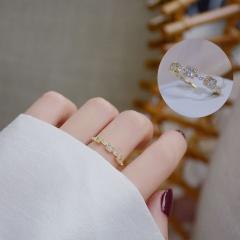 Fashion Gold White Stone Brass Open Rings for Women #2