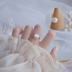 Gold Fashion Simple Pearl Open Rings Wholesale #1