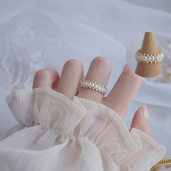 Gold Fashion Simple Pearl Open Rings Wholesale #2