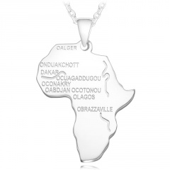 Stainless Steel Alphabet Africa Map Necklace silver