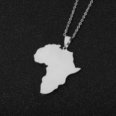 Stainless Steel Africa Map Clavicle Chain Necklace silver