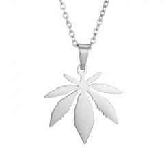 Stainless Steel Maple Leaf Pendant Clavicle Chain Necklace silver