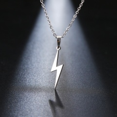 Stainless Steel Lightning Pendant Clavicle Chain Necklace silver