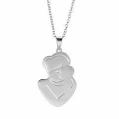 Mother Kissing Baby Mothers Day Family Stainless Steel Necklace silver