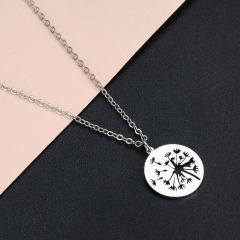 Hollow Dandelion Circle Stainless Steel Pendant Clavicle Chain Necklace silver