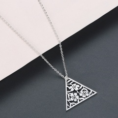 Triangle Hollow Flower Stainless Steel Pendant Clavicle Chain Necklace silver