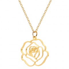 Hollow Rose Stainless Steel Pendant Necklace gold