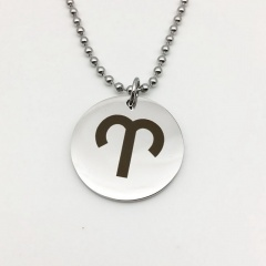 Twelve Constellation Circle Stainless Steel Pendant Necklace Aries