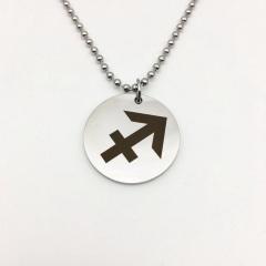 Twelve Constellation Circle Stainless Steel Pendant Necklace Sagittarius