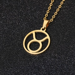 Gold 12 Constellation Circle Pendant Chain Necklace Jewelry Taurus