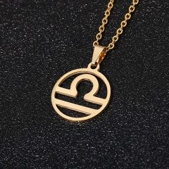 Gold 12 Constellation Circle Pendant Chain Necklace Jewelry Libra