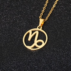 Gold 12 Constellation Circle Pendant Chain Necklace Jewelry Capricorn