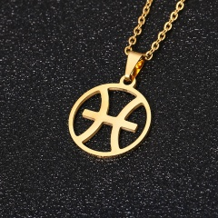 Gold 12 Constellation Circle Pendant Chain Necklace Jewelry Pisces