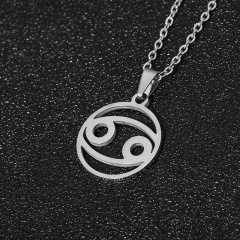 Silver Satinless Steel 12 Constellation Chain Necklace Wholesale Cancer