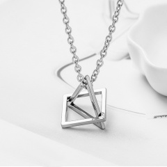 silver stainless steel simple pendant chain necklace jewelry square