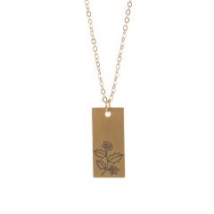Rectangular month birthday flower stainless steel necklace December