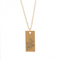 Rectangular month birthday flower stainless steel necklace May