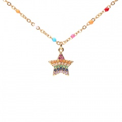 Colorful stainless steel inlaid zirconium five-pointed star clavicle chain necklace star