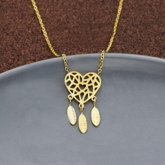 Heart Hollow Dream Catcher Feather Stainless Steel Necklace gold