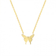 Three-dimensional butterfly stainless steel clavicle chain necklace gold